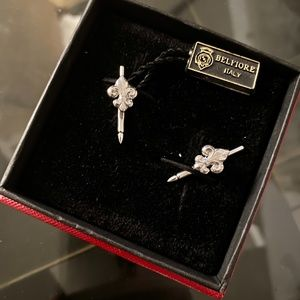 Fleur de Lis STERLING 925 Cufflinks ITALY $275 NEW